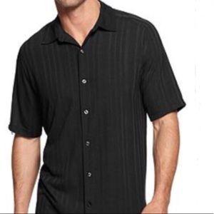 Via Europa Black Short Sleeve Button Down Shirt L